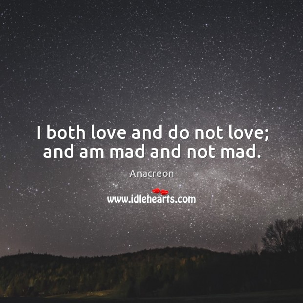 Image, I both love and do not love; and am mad and not mad.