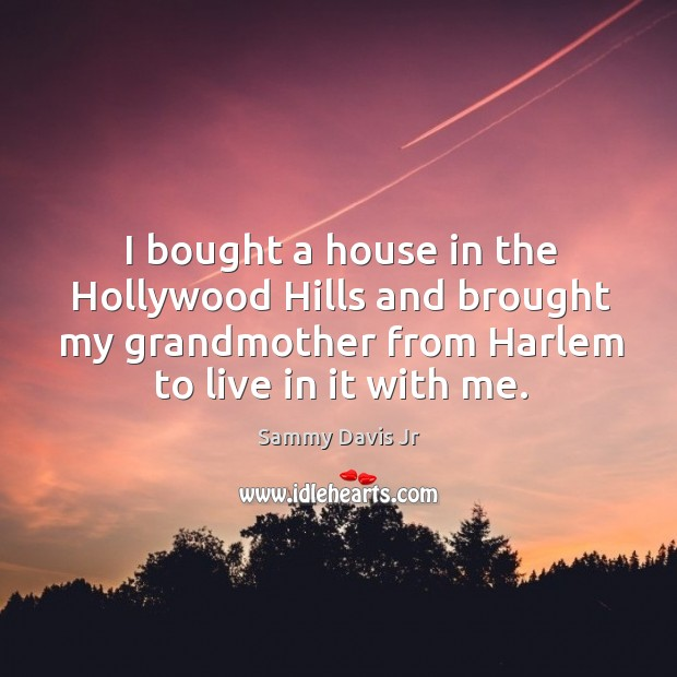 I bought a house in the hollywood hills and brought my grandmother from harlem to live in it with me. Image