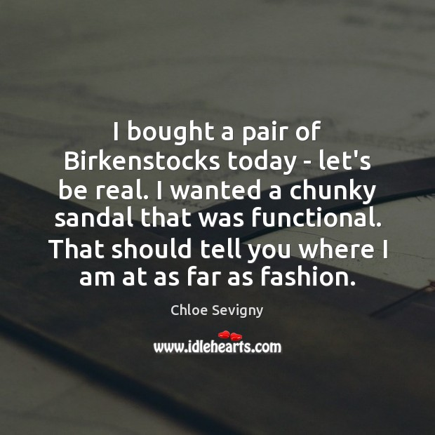I bought a pair of Birkenstocks today – let's be real. I Chloe Sevigny Picture Quote