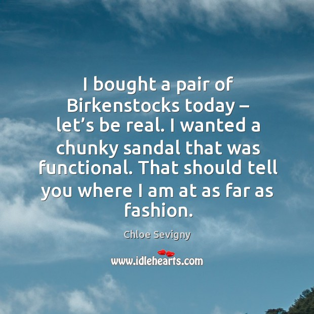 I bought a pair of birkenstocks today – let's be real. I wanted a chunky sandal that was functional. Chloe Sevigny Picture Quote