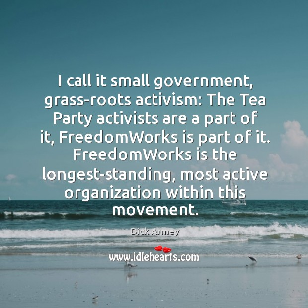 Image, I call it small government, grass-roots activism: