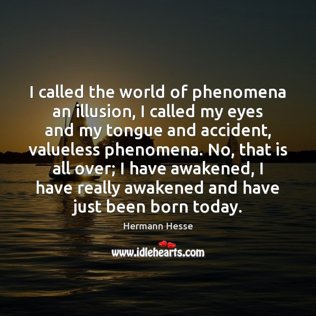 Image, I called the world of phenomena an illusion, I called my eyes