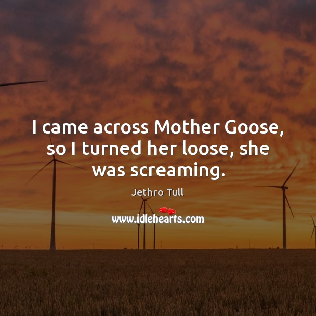 I came across Mother Goose, so I turned her loose, she was screaming. Image