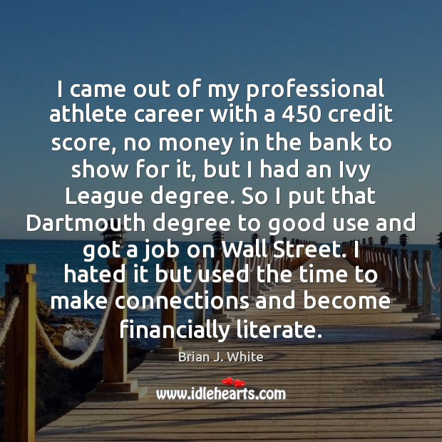 Image, I came out of my professional athlete career with a 450 credit score,
