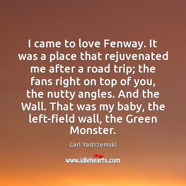 Image, I came to love Fenway. It was a place that rejuvenated me
