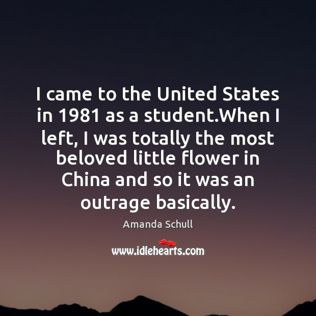 Image, I came to the United States in 1981 as a student.When I