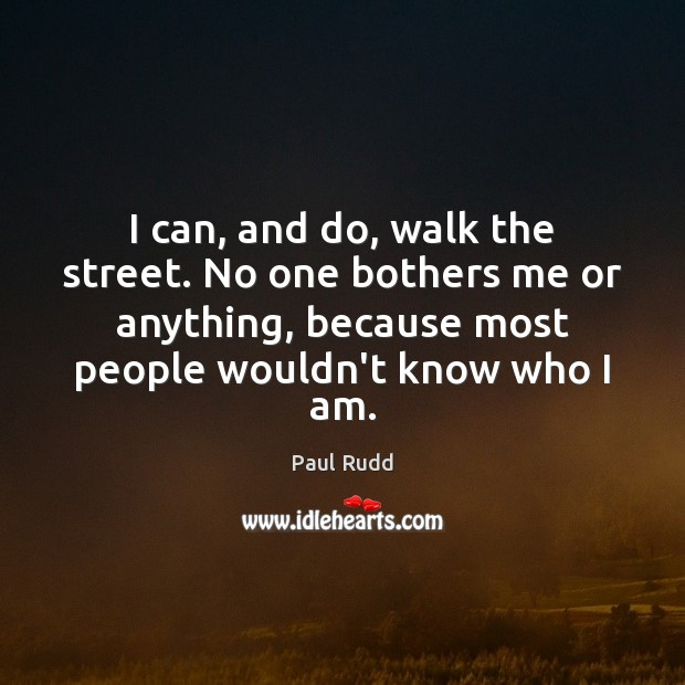 Image, I can, and do, walk the street. No one bothers me or