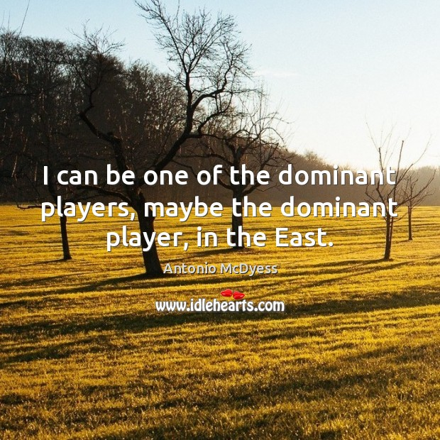 Image, I can be one of the dominant players, maybe the dominant player, in the East.