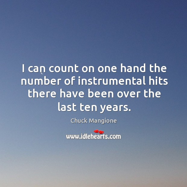 I can count on one hand the number of instrumental hits there have been over the last ten years. Chuck Mangione Picture Quote
