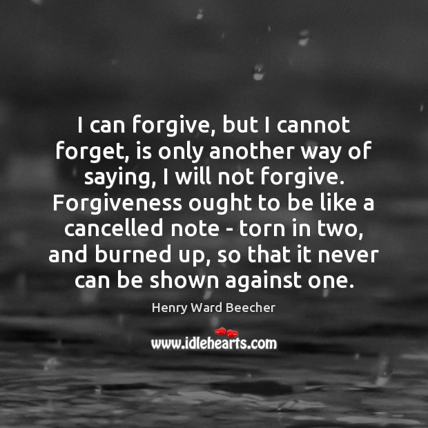Image, I can forgive, but I cannot forget, is only another way of
