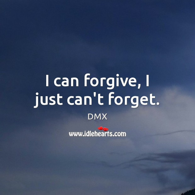 I can forgive, I just can't forget. DMX Picture Quote