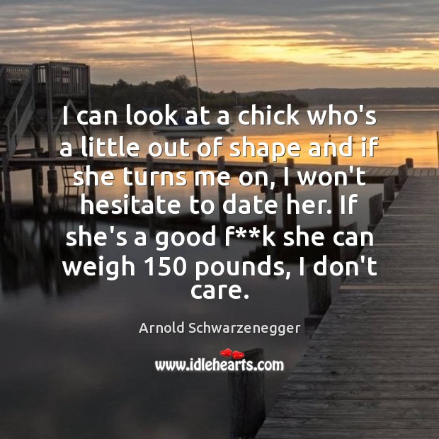 I can look at a chick who's a little out of shape Arnold Schwarzenegger Picture Quote