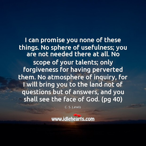 I can promise you none of these things. No sphere of usefulness; C. S. Lewis Picture Quote