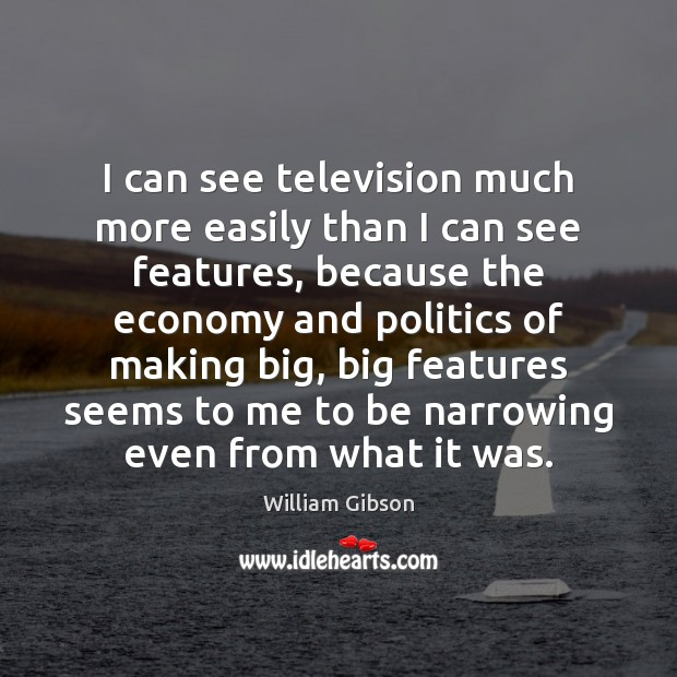 I can see television much more easily than I can see features, Image
