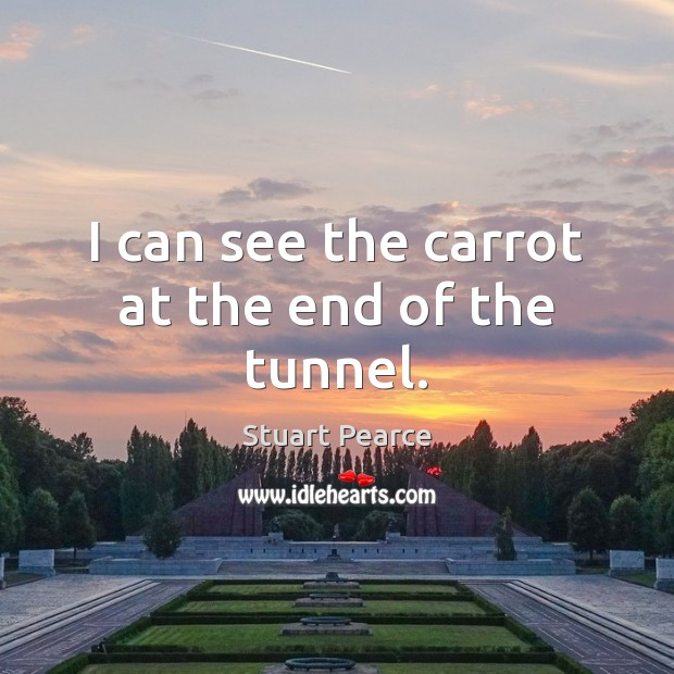 Image, I can see the carrot at the end of the tunnel.