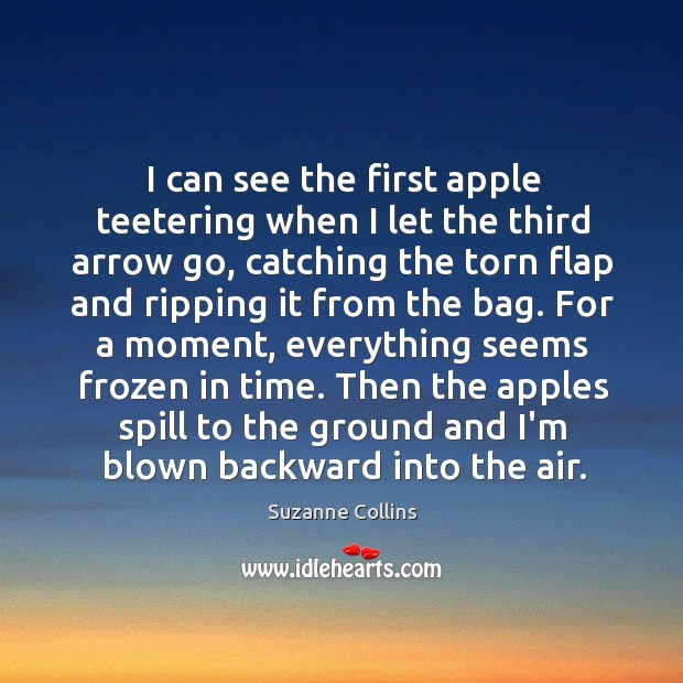 Image, I can see the first apple teetering when I let the third
