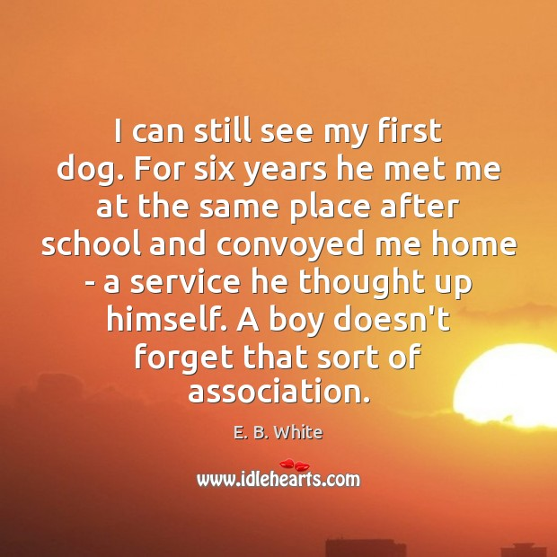 I can still see my first dog. For six years he met E. B. White Picture Quote