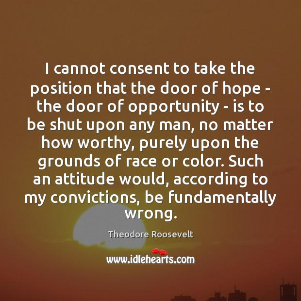I cannot consent to take the position that the door of hope Theodore Roosevelt Picture Quote