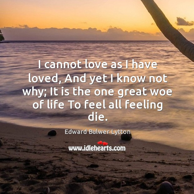 I cannot love as I have loved, and yet I know not why; it is the one great woe of life to feel all feeling die. Image