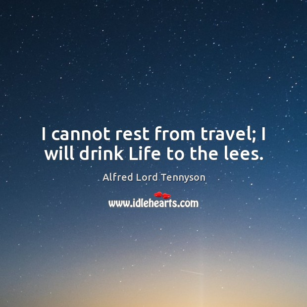 Image, I cannot rest from travel; I will drink Life to the lees.