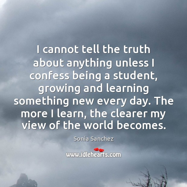 I cannot tell the truth about anything unless I confess being a Image