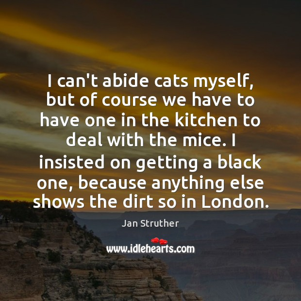 I can't abide cats myself, but of course we have to have Jan Struther Picture Quote