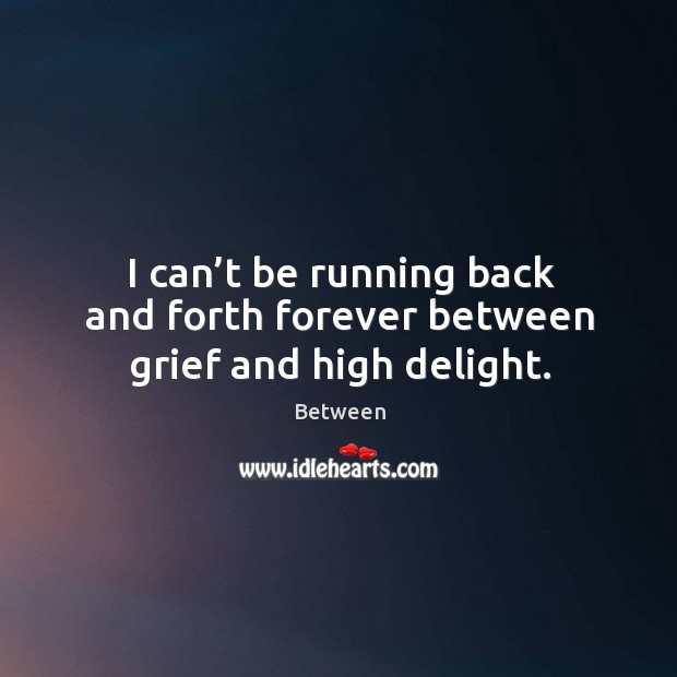 I can't be running back and forth forever between grief and high delight. Image