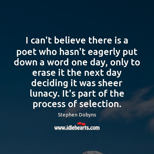 Image, I can't believe there is a poet who hasn't eagerly put down