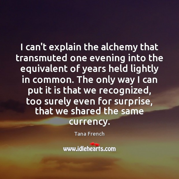 I can't explain the alchemy that transmuted one evening into the equivalent Tana French Picture Quote