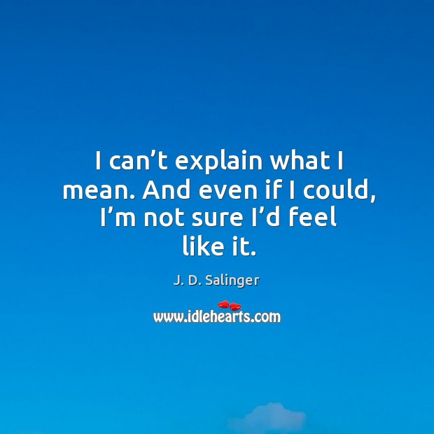 I can't explain what I mean. And even if I could, I'm not sure I'd feel like it. Image