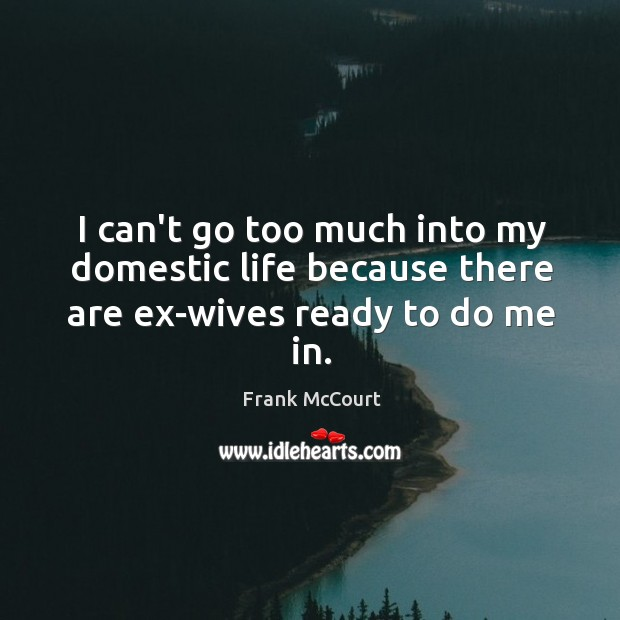 Image, I can't go too much into my domestic life because there are ex-wives ready to do me in.