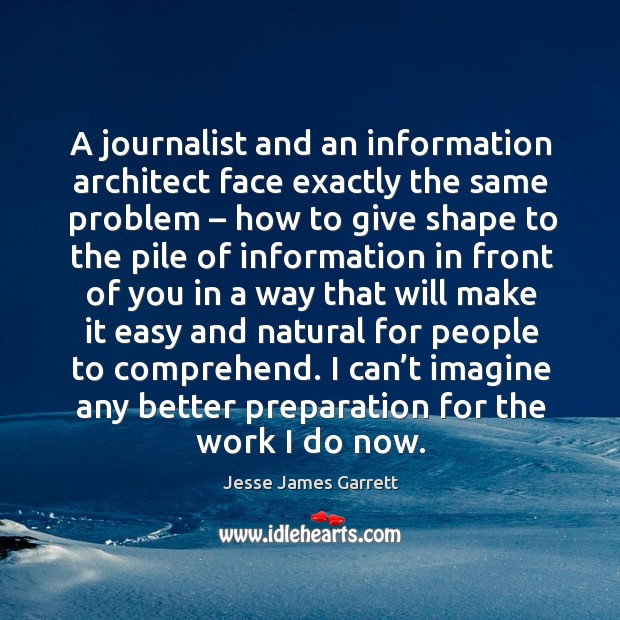 I can't imagine any better preparation for the work I do now. Jesse James Garrett Picture Quote