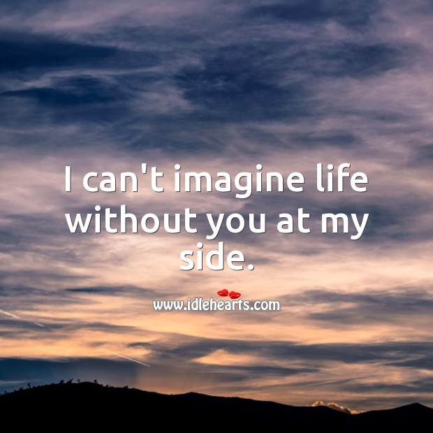 I can't imagine life without you at my side. Life Without You Quotes Image