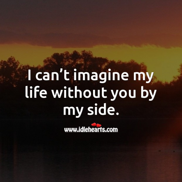 I can't imagine my life without you by my side. Life Without You Quotes Image