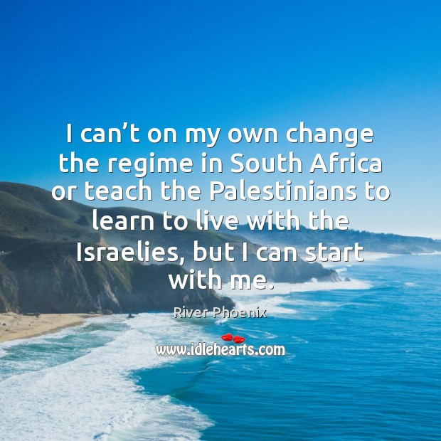 I can't on my own change the regime in South Africa Image
