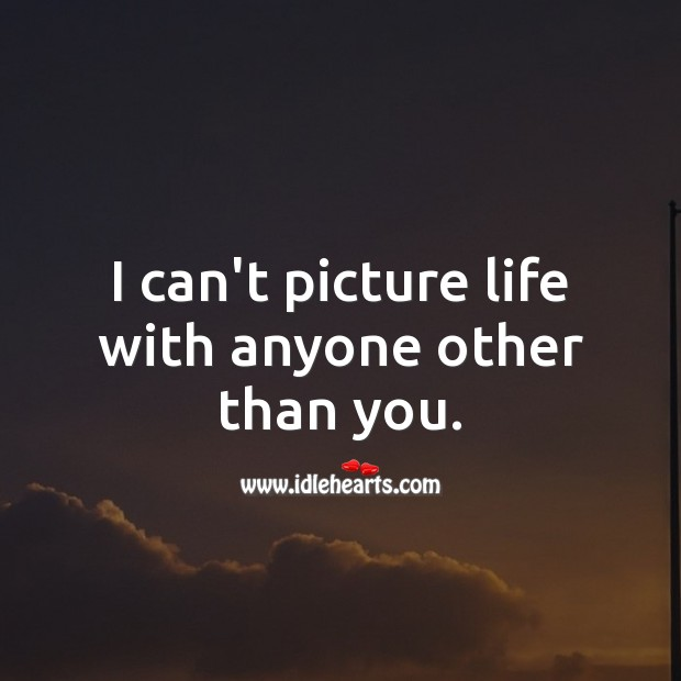 I can't picture life with anyone other than you. Wedding Quotes Image