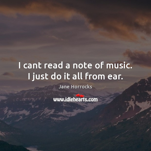 I cant read a note of music. I just do it all from ear. Image