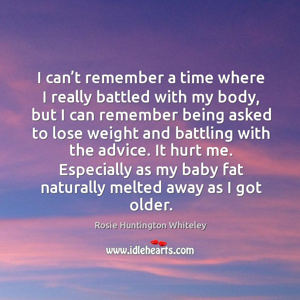 Image, I can't remember a time where I really battled with my body, but I can remember being asked