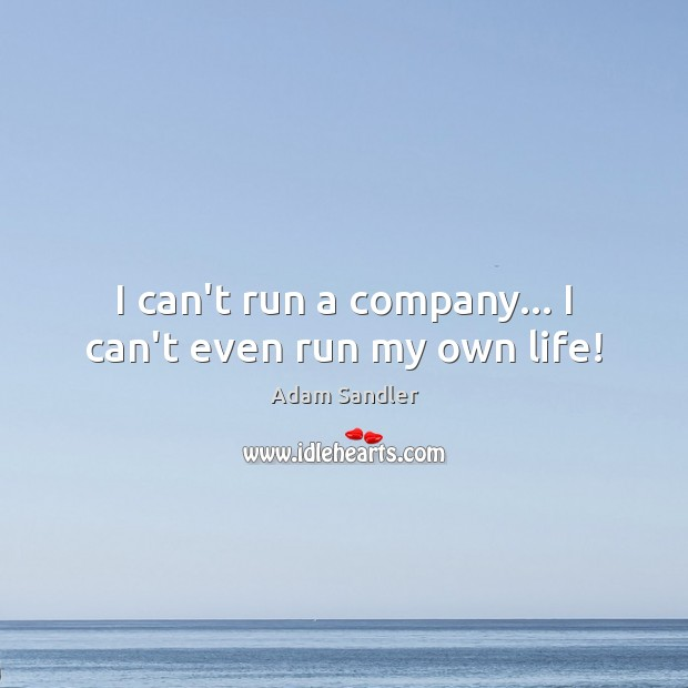 Image, I can't run a company… I can't even run my own life!