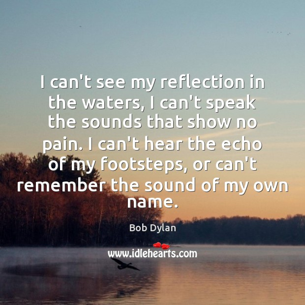 I can't see my reflection in the waters, I can't speak the Bob Dylan Picture Quote