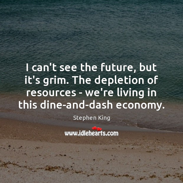 I can't see the future, but it's grim. The depletion of resources Economy Quotes Image