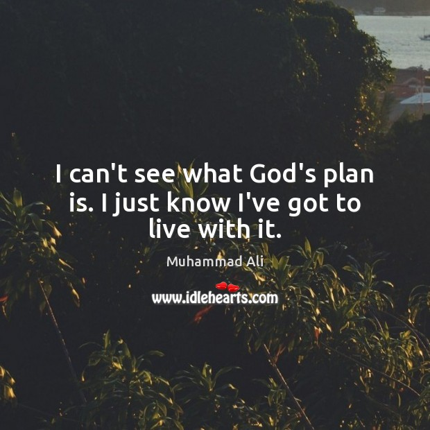 I can't see what God's plan is. I just know I've got to live with it. Image