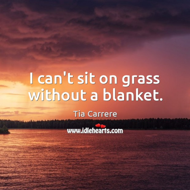 Image, I can't sit on grass without a blanket.
