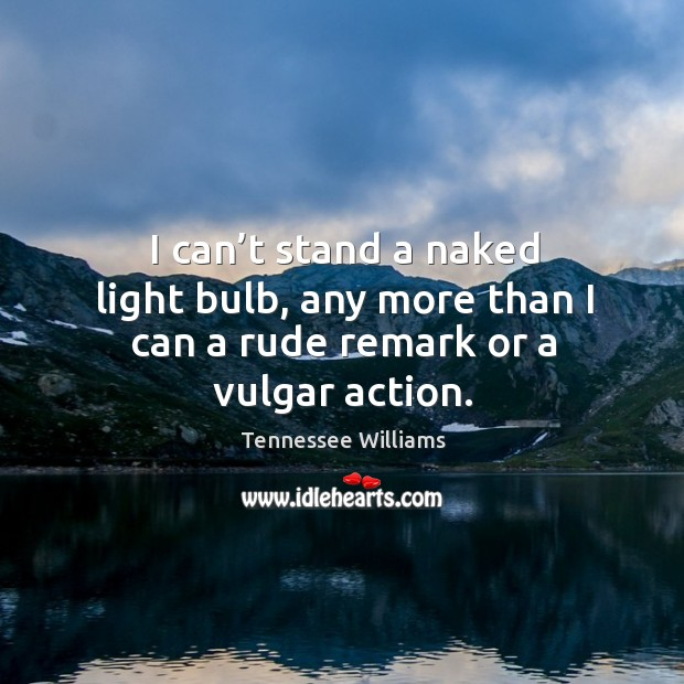 I can't stand a naked light bulb, any more than I can a rude remark or a vulgar action. Image