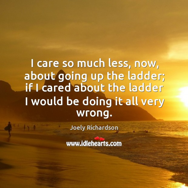 Image, I care so much less, now, about going up the ladder; if I cared about the ladder I would be doing it all very wrong.