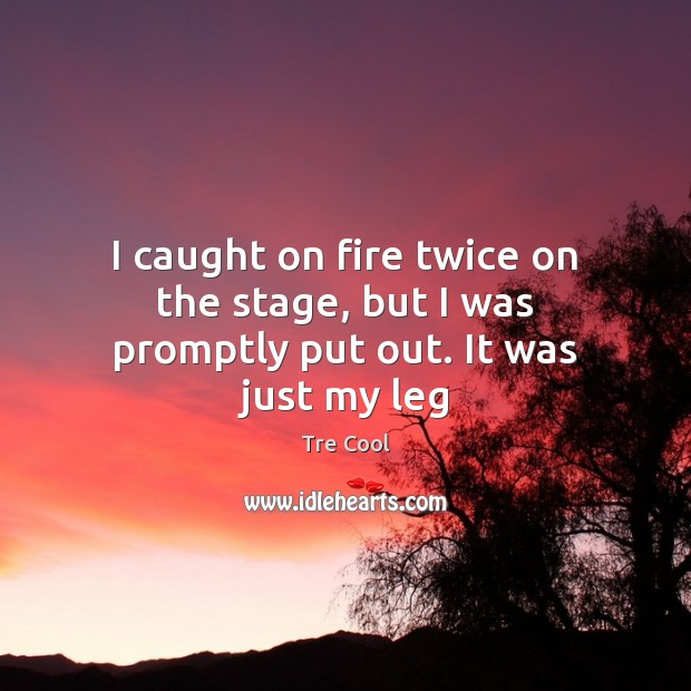 I caught on fire twice on the stage, but I was promptly put out. It was just my leg Tre Cool Picture Quote