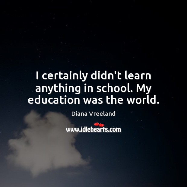 I certainly didn't learn anything in school. My education was the world. Diana Vreeland Picture Quote