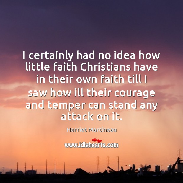 I certainly had no idea how little faith Christians have in their Image