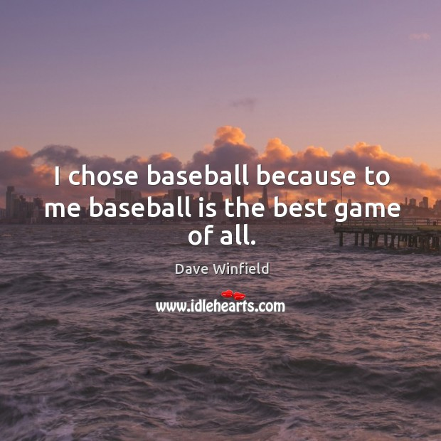 I chose baseball because to me baseball is the best game of all. Image