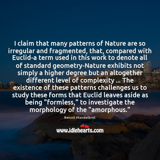I claim that many patterns of Nature are so irregular and fragmented, Benoit Mandelbrot Picture Quote